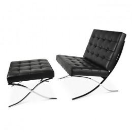 Кресло Барселона с оттоманкой черный