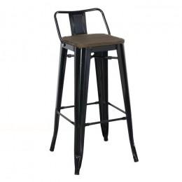 Высокий барный стул Толикс Вуд хокер глянцевый черный