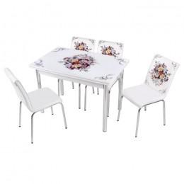 Комплект Buket/Букет раскладной стол 110*70 (170*70) и 4 стула кожзам Mobilgen