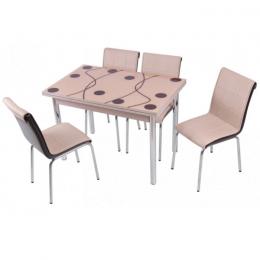 Комплект Cappucino/Капучино кухонный стол 90*60 (150*60) и 4 мягких стула Mobilgen