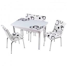 Комплект Elips/Элипс в светлых тонах кухонный стол 110*70 (170*70) и 4 стула кожзам Mobilgen