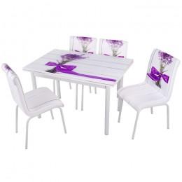 Комплект Feslegen/Базилик обеденный стол 110*70 (170*70) и 4 мягких стула Mobilgen