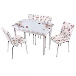 Комплект Kahve Cicec/Кофейный цветок стеклянный стол 110*70 (170*70) и 4 стула кожзам Mobilgen