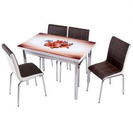 Комплект Kahve orkide/Кофейная орхидея обеденный стол 110*70 (170*70) и 4 мягких стула Mobilgen
