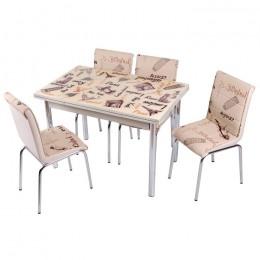 Комплект Krem Paris/Крем Париж кухонный стол 110*70 (170*70) и 4 стула кожзам Mobilgen