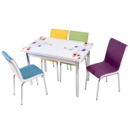 Комплект Lale/Тюльпан кухонный стол 110*70 (170*70) и 4 мягких стула Mobilgen