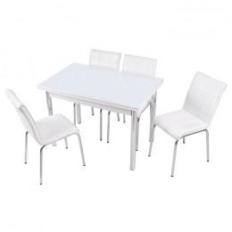 Комплект Beyaz/Белый стеклянный стол 90*60 (150*60) и 4 стула кожзам Mobilgen