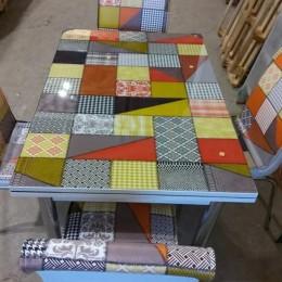 Комплект GREEN PATCH раскладной стол 110*70 (170*70) и 4 стула кожзам Mobilgen