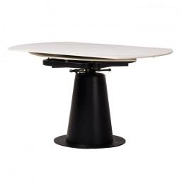 Круглый керамический кухонный стол TML-831 (бьянко жемчужно/черный) Vetro