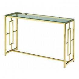 Столик-консоль CL-3 прозрачный + золото 120*40*78(H) Vetro