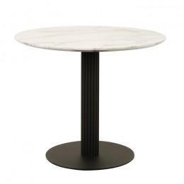 Круглый обеденный стол Т-319 сивелла белый мрамор D90*75(H) Vetro
