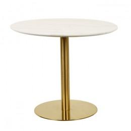 Круглый обеденный стол Т-320 агария белый мрамор D90*75(H) Vetro