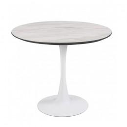 Круглый обеденный стол Т-318 мрамор + белый D80*74,5(H) Vetro