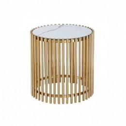 Кофейный столик CJ-1 белый мрамор + золото D49,5*52(H) Vetro