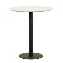 Высокий барный стол ВТ-01 белый мрамор D80*95(H) Vetro
