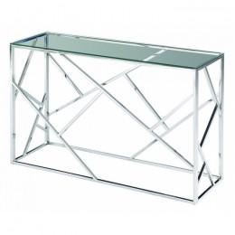 Столик-консоль CF-3 прозрачный + серебро 120*40*78(H) Vetro