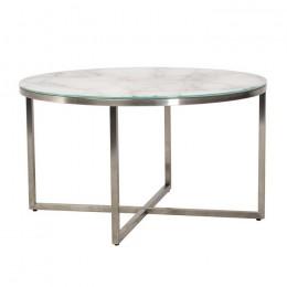 Журнальный столик С-181 белый мрамор D80*45(Н) Vetro
