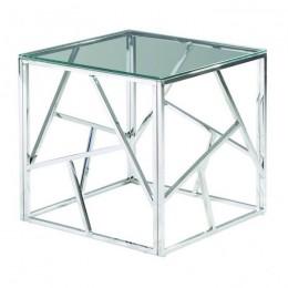 Журнальный столик CF-2 прозрачный + серебро 55*55*55(H) Vetro