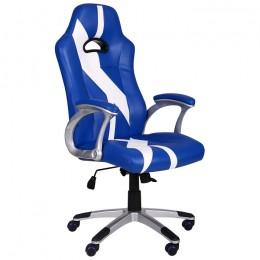 Кресло Форсаж №10 синий/белый AMF