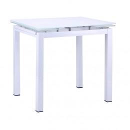 Стол Корфу 800(1250)*650*770 База белый/Стекло белый AMF