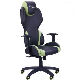 Кресло VR Racer Zeus черный, PU черный/зеленый AMF