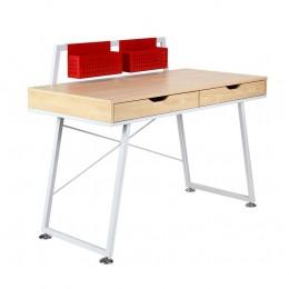 Компьютерный стол Gogol белый+красный/клен AMF