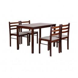 Комплект обеденный Брауни (стол+4 стула) светлый шоколад/латте AMF