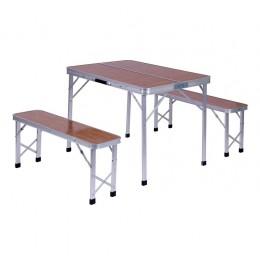 Комплект складной Дует (Стол+2 Лавки) WZZ007A/Y5 алюм/МДФ AMF