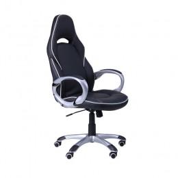 Кресло Страйк (CX 0496H Y10-02) к/з черный/белый кант AMF