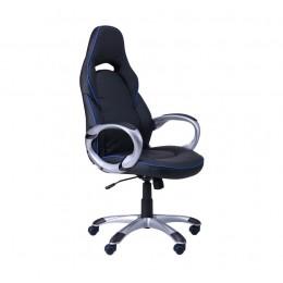 Кресло Страйк (CX 0496H Y10) к/з черный/синий кант AMF