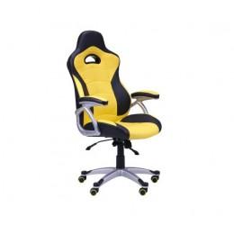 Кресло Форсаж №1 (1712) к/з PU черный/желтые вставки AMF