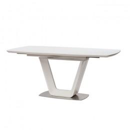 Стол обеденный Gloucester Matt White (Глостер Мет Уайт) МДФ стекло 140см Concepto