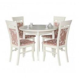 Стол обеденный Элис 100(+40)х100х75 (белый, бежевый, ваниль)