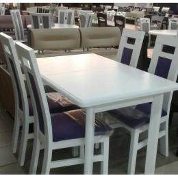Стол обеденный Комфорт 120(+40+40)х80х75 (белый, бежевый, ваниль)