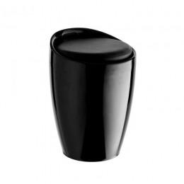 Пуф Мари пластиковый с подушкой кожзам черный ГСДМ