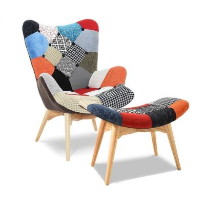 Комплект кресло Флорино с табуреткой-пуфом пэчворк ГСДМ