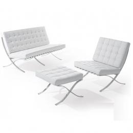 Комплект Барселона диван 2-местный+кресло+оттоманка белый ГСДМ