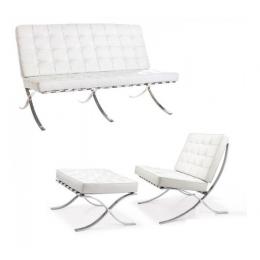 Комплект Барселона диван 3-местный+кресло+оттоманка белый ГСДМ
