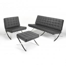 Комплект Барселона диван 3-местный+кресло+оттоманка черный ГСДМ