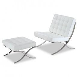 Комплект Барселона кресло+оттоманка белый ГСДМ