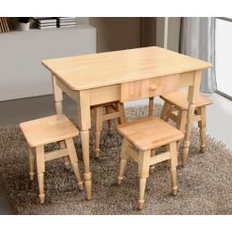 Комплект кухонный стол + 4 табурета (Массив бука) МиксМебель