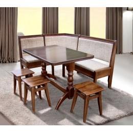 Кухонный уголок Семейный 170 * 130 бук 7 и Г (угол + стол + 3 табур.) (Бук) МиксМебель