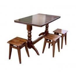 Комплект кухонный стол Семейный + 3 табур. (Бук) МиксМебель