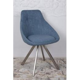 Стул поворотный TOLEDO (58*55*87 cm-текстиль) рогожка темно-голубой Nicolas