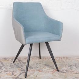 Кресло MAYA (56*60*86 cm-текстиль/экокожа) серо-голубой Nicolas